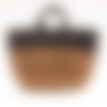 The Basket Room Himiza Khaki And Black Sisal Leather Shopper