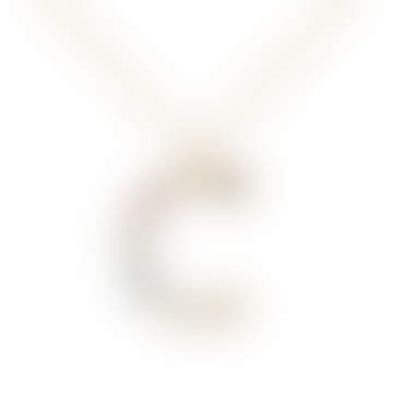 Sparkling Initial Necklace Gold Letter C