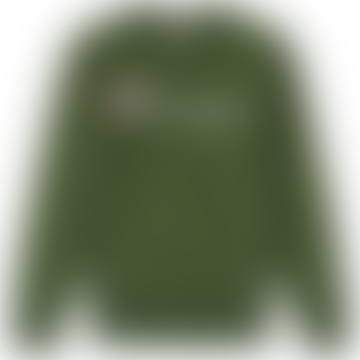 Champion Bottle Green Cotton 212576-BAF Script Logo Crew Neck Mens Sweatshirt