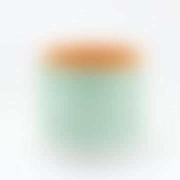 Green Horizontal Stripes Terracotta Pot M