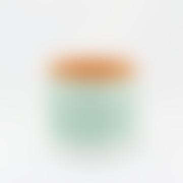 Green Horizontal Stripes Terracotta Pot S