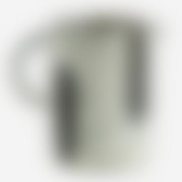 Madam Stoltz 9 x 11.5cm Off White and Blue Stoneware Jug with Stripes