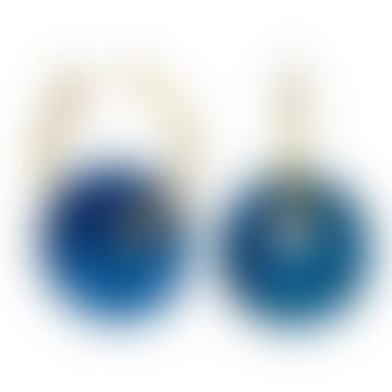 sept cinq Blue Plexiglass Saucer Earrings