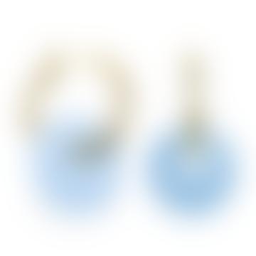 sept cinq Light Blue Plexiglass Saucer Earrings