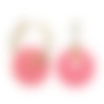 Boucles d'oreilles soucoupe en plexiglas rose