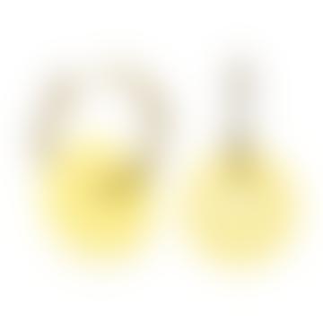 sept cinq Yellow Plexiglass Saucer Earrings