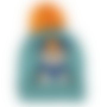 One Size Teal Acrylic Penguin Bobble Kids Hat