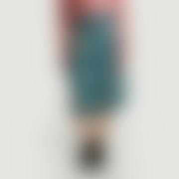 Blue Oil Viscose Floral Colibri Wallet Skirt