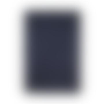 Dark Blue Herringbone Blanket In Cotton Lambswool