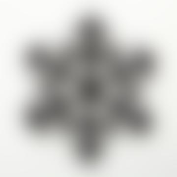 D19cm Black Glitter Deco Snowflake
