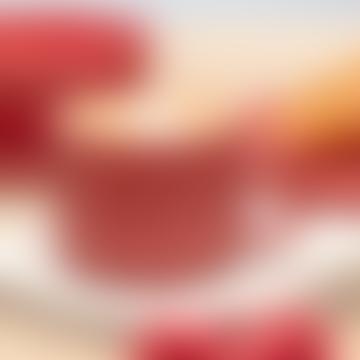 Set of 4 Chickidee Berry Red Fikka Marri Flat White Mugs