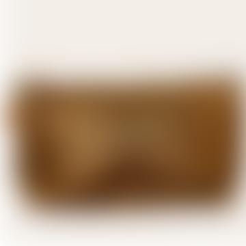 22 x 12cm Gold Zipper Leather Bag