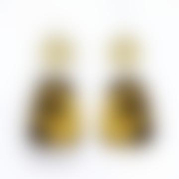 sept cinq Brown Gold Leopard Amphora Earrings