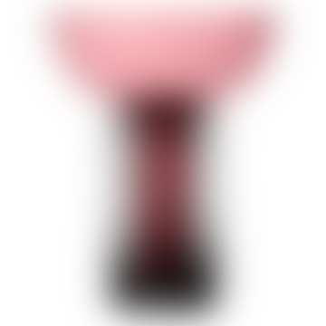 AYTM Large Black and Rose Glass Torus Vase