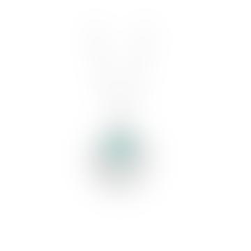 Large Disk Mini Gemstone Pendant Necklace Aqua Chalcedony