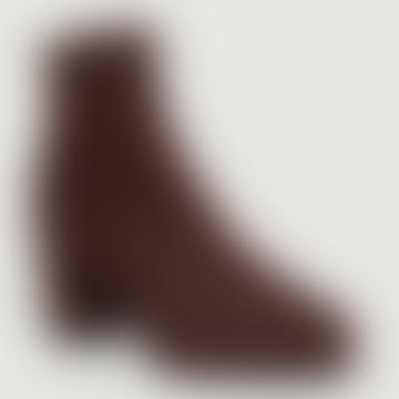 Burgundy Tweed Leather Olivia Ankle Boots