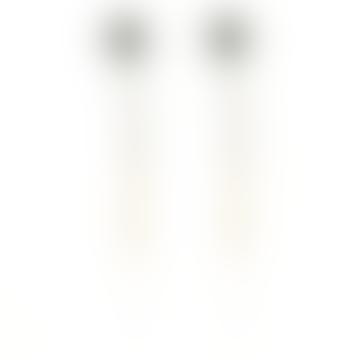 CollardManson 925 Long Gold Plated Silver Skull Earrings