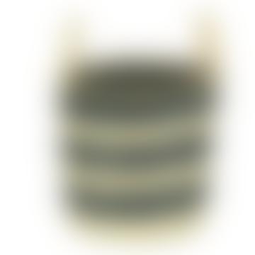 Basket - Small striped seagrass basket