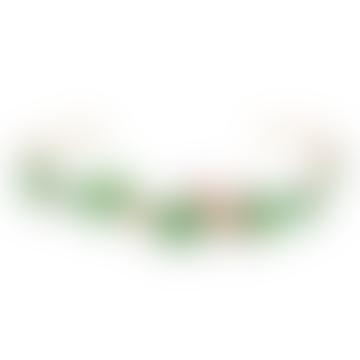 Gold Rhinestone and Leaf Comb Bangle Bracelet