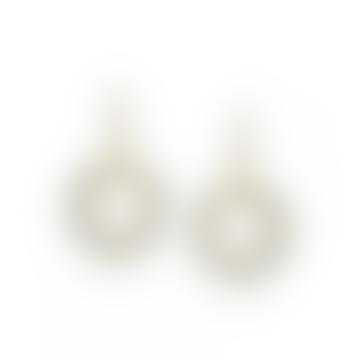 mounir LONDON Small Pyrite and Labradorite Hoop Earrings