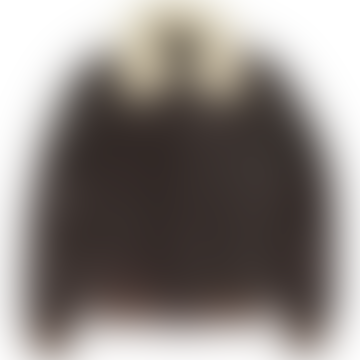 Schott Nyc Leather Flight Jacket W/Removable Shearling Collar Brown LC2412
