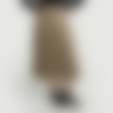 Beige Tartan Pleated Midi Skirt