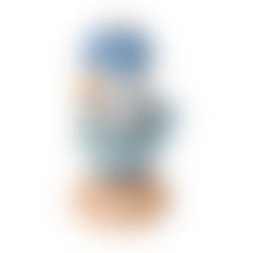 Oiseau empilable en bois bleu royal