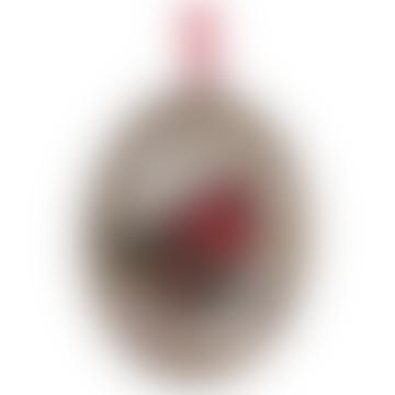 10cm Glass Oval Medallion with Cardinal