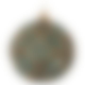 15cm Blue Gold Brown Glass Floral Ball