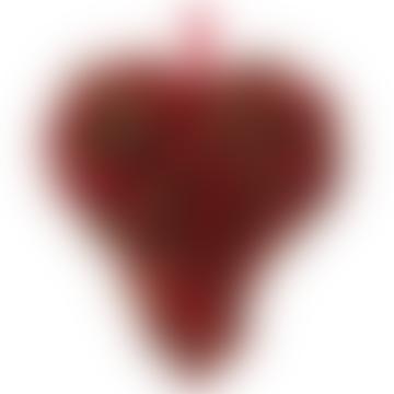 12cm Red Gold Glitterd Berry Heart