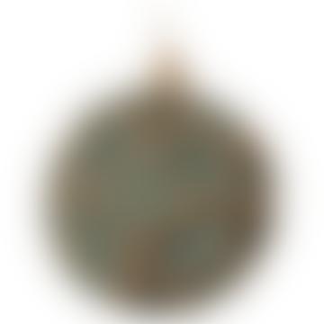 10cm Gold Brown Blue Glass Floral Ball
