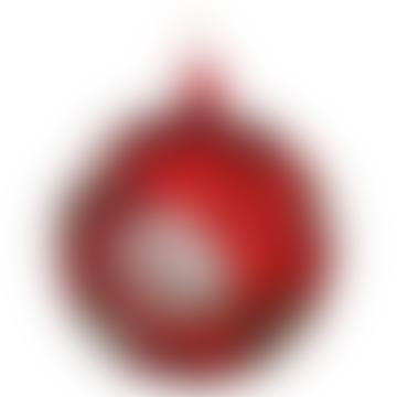 10cm rote matte Glaskugel mit Sahnespitzeblumen
