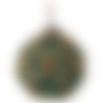 10cm blau grüne Glaskugel mit Sequenz eingekreist