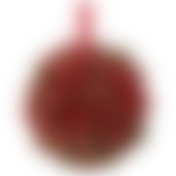 9cm rote Beerenkugel mit Goldglitter