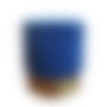 Velvet Blue Cilinder Pouf