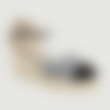 Black Textile Casandra Tweed Wedge Espadrille Sandal
