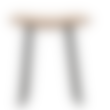 POETIC IN ROCK  Natural Oak Stool with Wrought Iron Feet