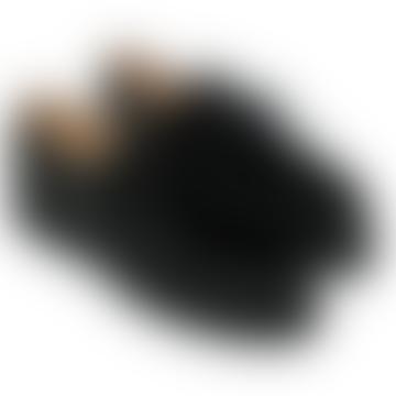 Black Michael Rabbit Fur Derbies Shoes