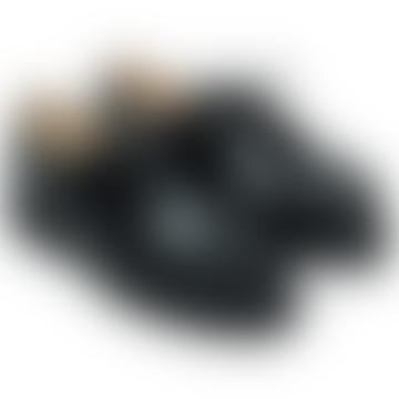 Black Leather Michael Gloss Derbies Shoes