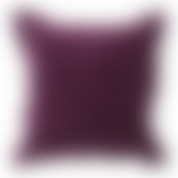 Plum Velvet and Linen Cushion