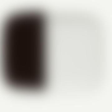White and Dark Brown Sweet Rectangular Plate