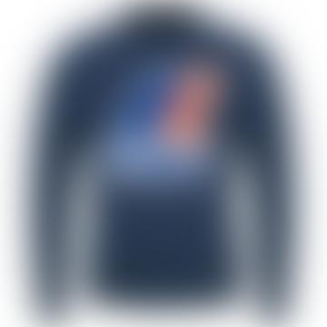 K-Way Augustine Macro Logo Crew Neck Sweatshirt Blue Ottanio