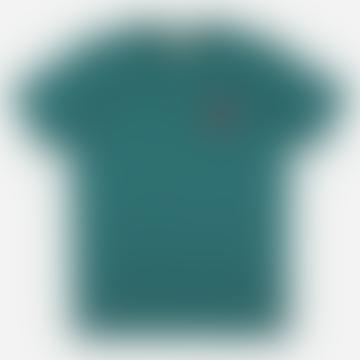 Castart Sky Embroidered Coral T Shirt Emerald Blue