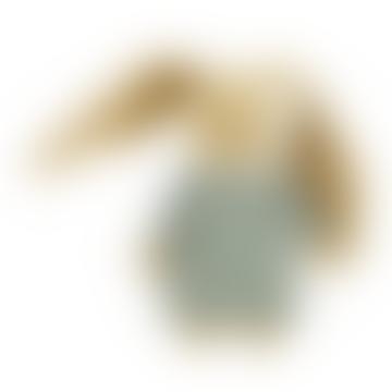 Celadon Green Linen Musical Rabbit Doudou