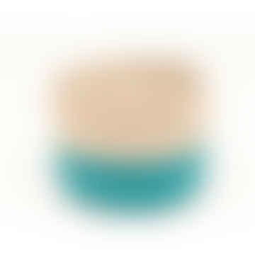 Turquoise and Natural Lazima Block Basket Medium