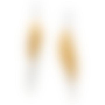 Christin Ranger Long Silver and Gold Leaf Earrings