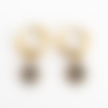 Busby & Fox Dark Grey Gold Plated Crystal Star Earrings