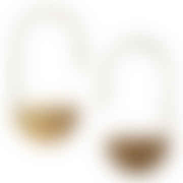 925 Silver Semi Circle Earrings Gold