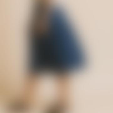 Mid-Length Duck Blue Skirt in Hemp and Tencel Tugela