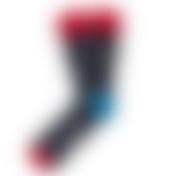 Mens Rockets Spaceships Black Red Socks